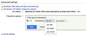 Frequency capping in Adwords