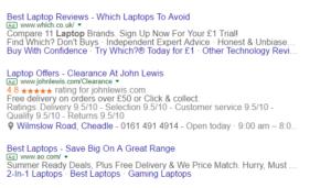 Example PPC ads